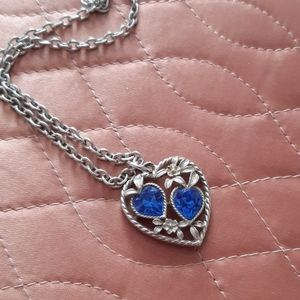 Sarah Coventry  heart Necklace  blue